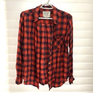 Abercrombie & Fitch Red Plaid Flannel Top